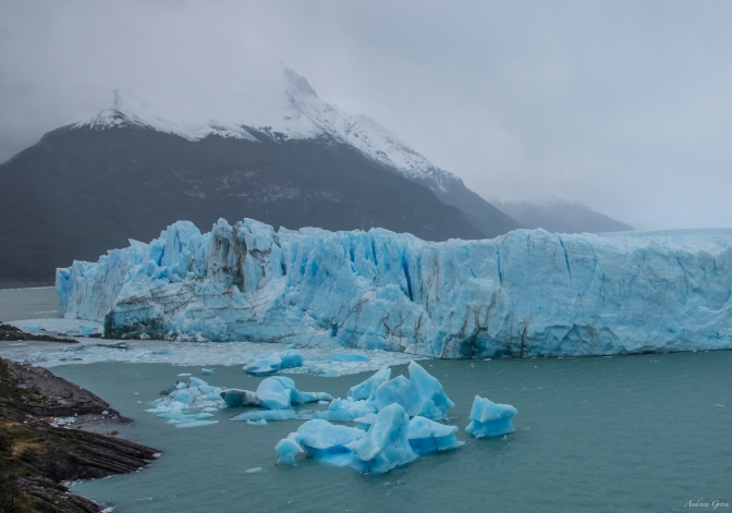 Enjoying Perito Moreno in heavy rain